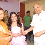 Student being presented cheque by Mr. B.K.Agarwal - Chairman CIMAGE  (4)
