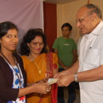 Student being presented cheque by Mr. B.K.Agarwal - Chairman CIMAGE  (2)